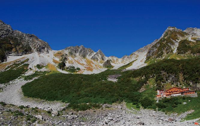 夏の涸沢。右下が、谷さんが働く涸沢小屋。青空をバックに奥穂高岳(左)、涸沢岳(中央)、北穂高岳(右)がそびえる