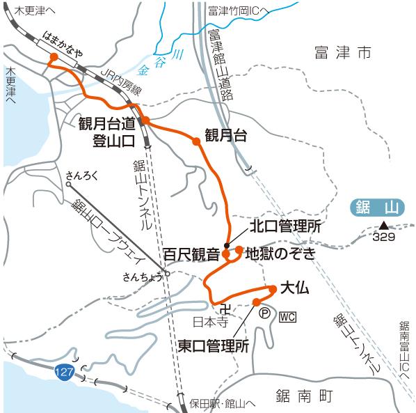 鋸山のおすすめ登山コースマップ